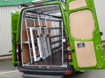 Interior Glass Transport Van Conversion